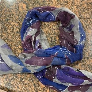 Gorgeous sheer silk scarf -hand painted.